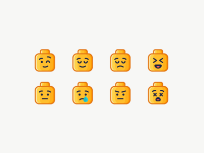 LEGO Emoji head dead surprised angry sad happy emotion emoji lego illustration outline icon