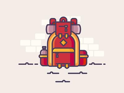 Big Backpack adventure trip hiking mountains sleeping bag explore travel backpack illustration outline icon