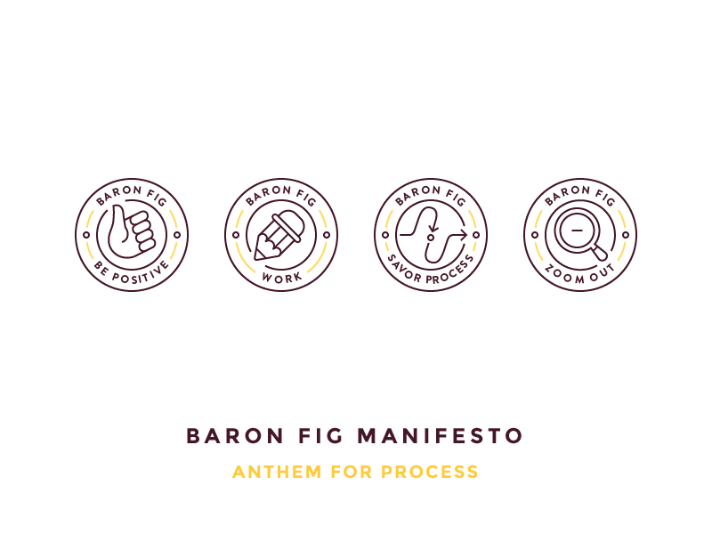 Baron Fig Manifesto baron fig badges work like magnifying glass zoom out direction pencil thumbs up illustration outline icon