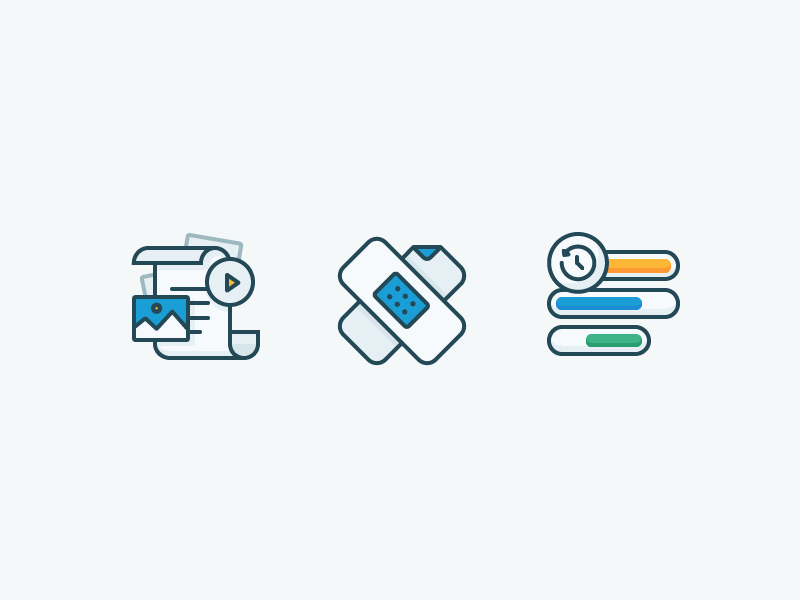 Icons time management statistics images play documents bars stats patch bandage illustration outline icon