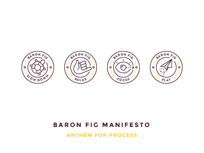 Baron Fig Manifesto slow down eye airplane play focus relax turtle badge baron fig illustration outline icon