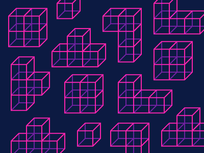 Best Icon of the Month! futuristic 90s 80s style 80s build arcade game building neon tetris icons illustration outline
