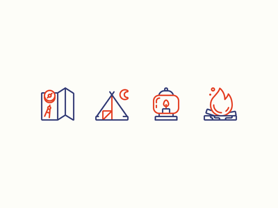 Camping Icons woods navigation iconography hiking wood fire lantern tent map camping illustration outline icons icon