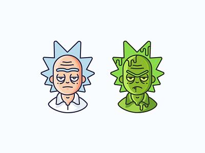 Rick & Toxic Rick cartoon tv series animation vector art exhibit character toxic rick and morty rick icon illustration outline