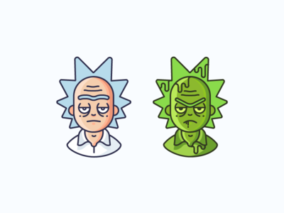 Rick & Toxic Rick cartoon tv series animation vector art exhibit character toxic rick and morty rick icon illustration outline