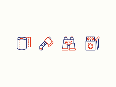 Camping Icons camp woods forest mountains fire matches binocular axe paper toilet camping illustration icon icons outline