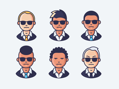 FBI male man people ties black suits glasses shades matrix agents man in black fbi character icon illustration outline