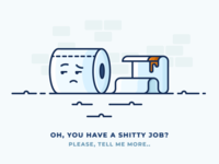 What a shitty job! shitty work job wc character emoji poo poop toilet paper toilet illustration outline icon