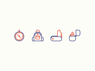 Camping Icons watch survival knife backpack compass lighter mountains forest camping illustration outline icon