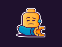LEGO! sticker face arm hand angry comfused character emoji lego illustration outline icon