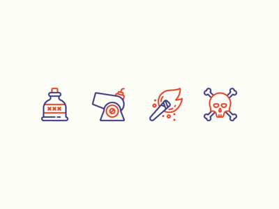 Pirate icon set two colors bottle pirates dead skull and crossbones skull torch cannon rum pirate iconography illustration outline icon