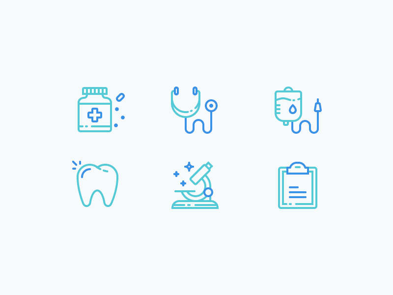 Medical Icons science microscope tooth teeth blood medication pills doctor hospital medical illustration outline icon