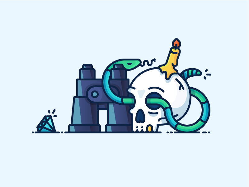Best Icon of the Month! dead diamond candle snake treasure adventures binoculars skull illustration outline icon