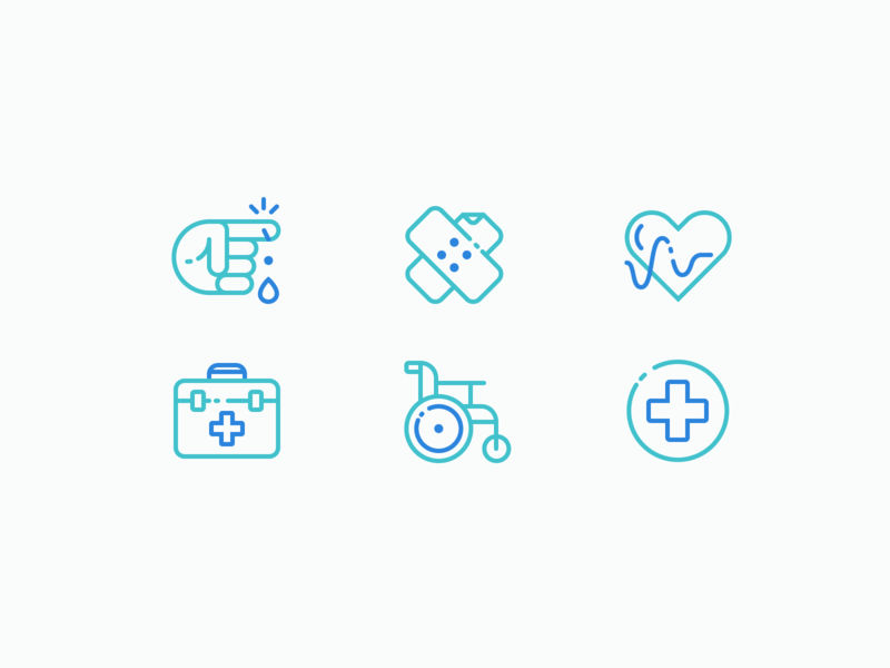 Medical Icons - part 2 suitcase wheelchair plaster hand cut heart health hospital medical medic iconography illustration outline icon