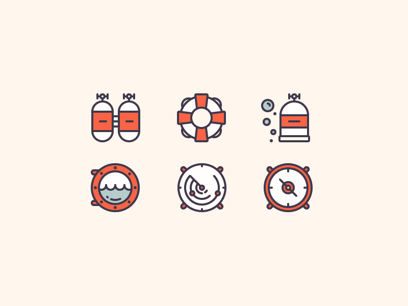 Nautical Icons ocean ship submarine diving navigation compass lifebuoy nautical sea illustration outline icon