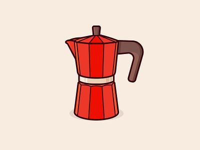 Coffee Anyone? morning caffeine kettle boil red espresso machine espresso coffee illustration outline icon