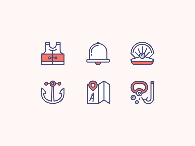 Nautical Icons boat ship sailing nautical ocean map anchor life west diving scuba shell perl bell water sea illustration outline icon