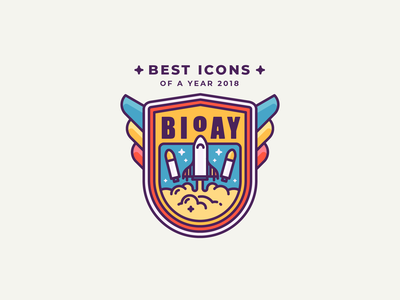 100 Best Icon Sets of the Year 2018! liftoff fly planet stars musk spaceship rocket galaxy space nasa patch badge illustration outline icon