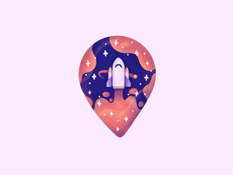 Rocket Pin! elon musk space exploration spaceship rocket launch grunge stars space pin rocket illustration icon
