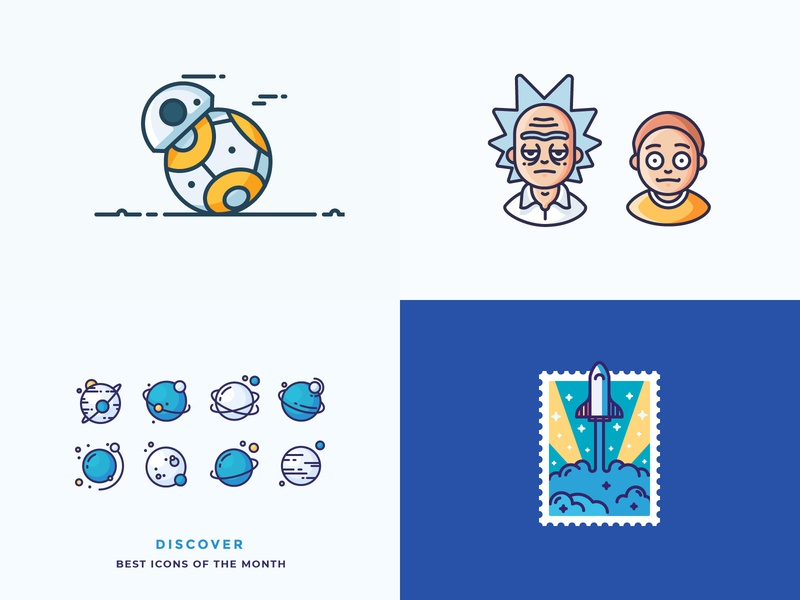 Best of 2018 rocket spaceshop rocketship space planets starwars bb8 rick and morty best of 2018 illustration outline icon