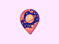 Planet Pin saturn meteorite meteor stars galaxy space planet pin illustration outline icon