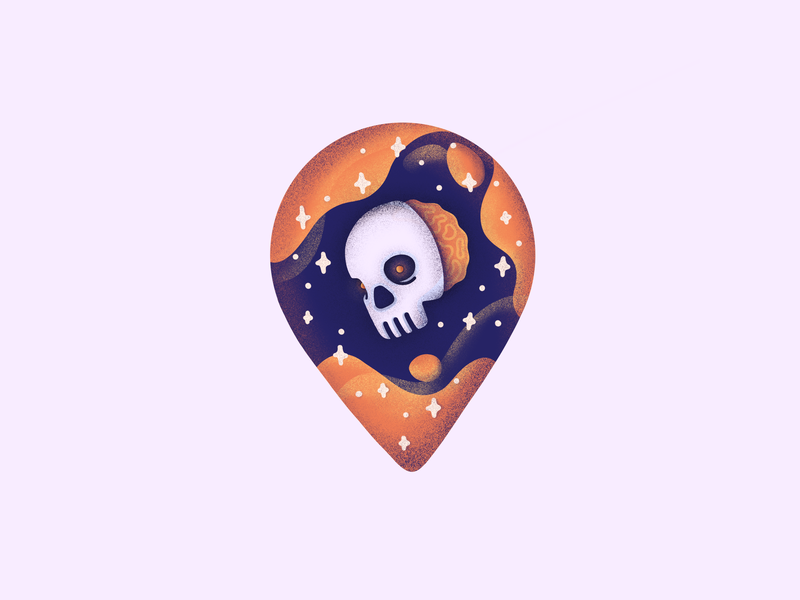 Skull Pin! undead character emoji location pin brain galaxy stars space dead skull illustration icon