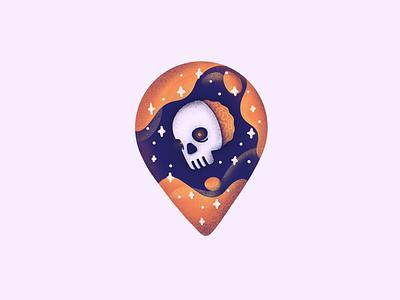 Dribbble skull pin 4x