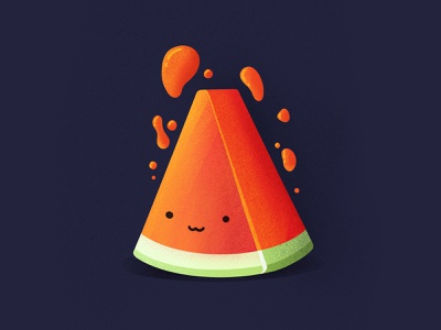 Watermeloon breakfast tasty red smile emoji juicy food watermelon procreate illustration icon