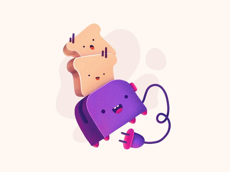 Toaster & Friends eat bread electronic device breakfast toast toaster illustration procreate icon