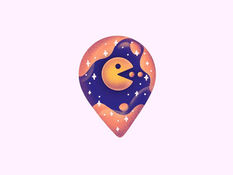 Pacman! oldschool game gaming procreate app pin packman procreate illustraiton icon
