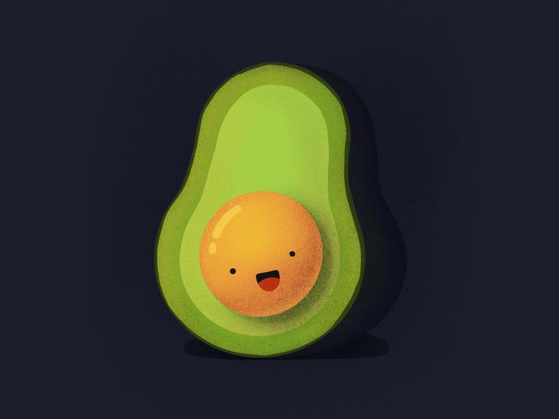 Avocadooo! breakfast laughing smiling happy character face emoji food acvocado illustration icon