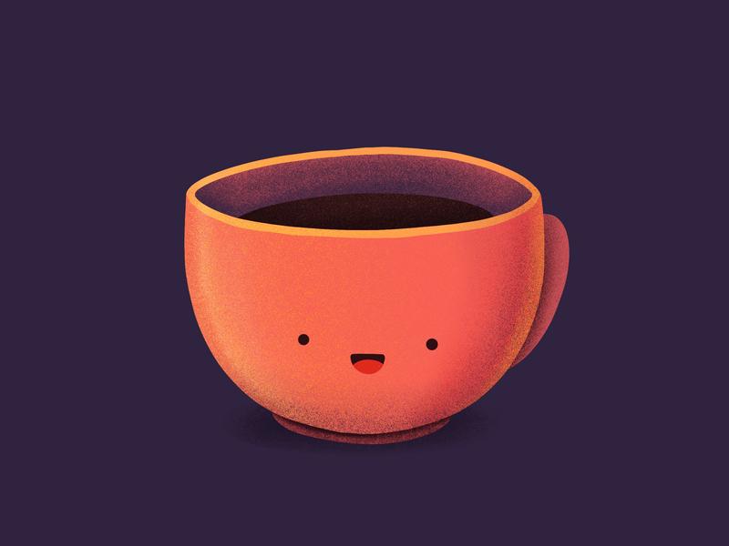 Coffee Mug! happy smile face character emoji drink coffee mug procreate illustration icon