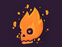 💀 kills love heart burning fire dead skull procreate illustration icon