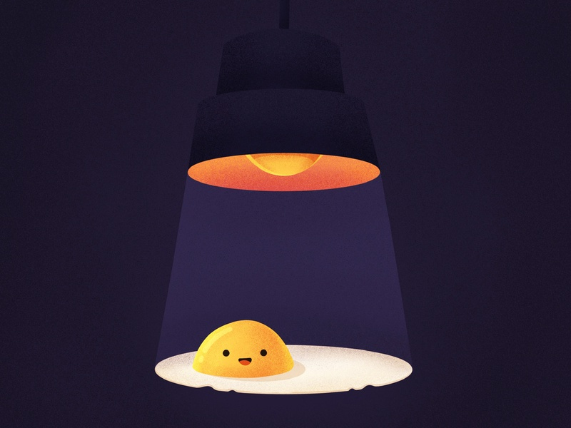Shine bright like a yolk! eat food light lamp smile character emoji omelette yolk egg procreate illustration icon
