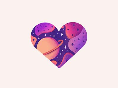Valentines Day! valentines day valentines valentine cosmos saturn stars planet space love heart procreate illustration icon