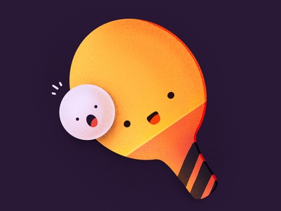 Ping Pong! racket cute character face emoji ball table tennis pingpong ping-pong illustration icon