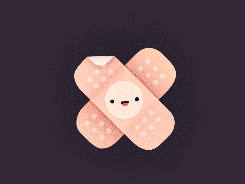 Oopsie! smiling procreate injury medical patch cute happy face character emoji illustration icon