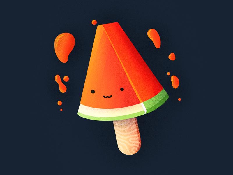 Watermelooon Icecream! sweet eat food tasty smiling cutre character emoji face popstickle ceam ice watermelon icecream illustration icon