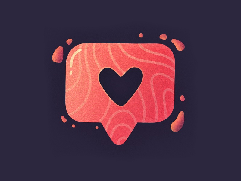 Insta Love! like pin notification salmon instagram heart love illustration icon