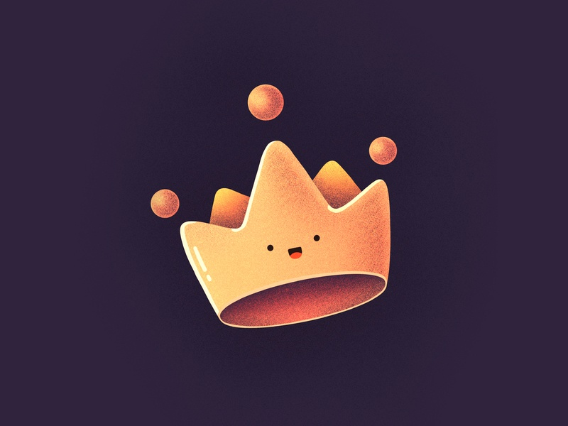 ⁣⁣👑👑👑 gold queen king happy character smile face emoji crown illustration icon