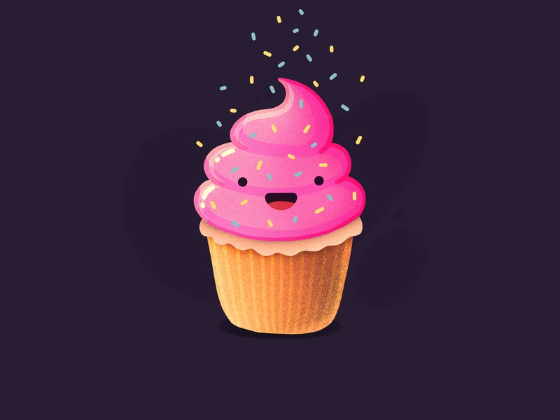 Happy Cupcake! sweet desert laughing happy character emoji face pie cake cupcake illustration outline icon