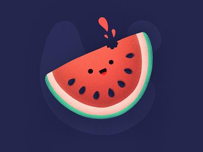 Happy Watermelon! desert eat food seeds bite smiling emoji watermelon fruit face character happ noise illustration icon