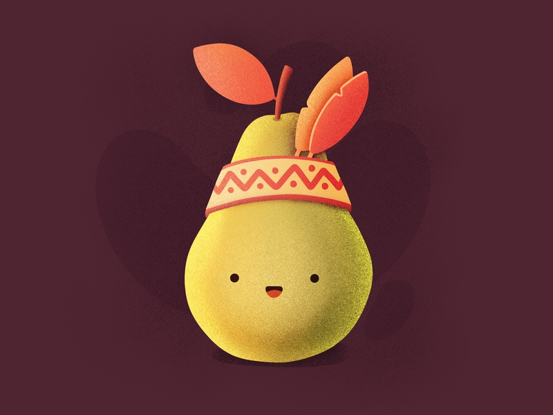 Pear-cahontas⁣⁣! 🍐🍂⁣ smiling happy face character emoji food leaf leaves native american fruit pear illustration icon