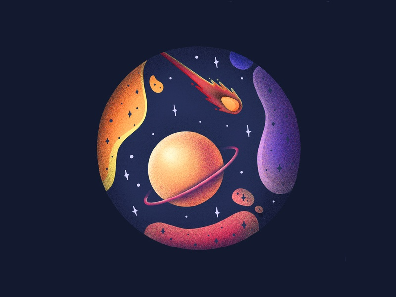 Space Coaster procreate cosmos stars meteorite meteor planet saturn space illustration icon