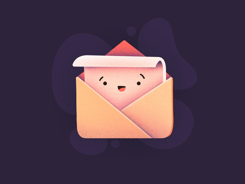 You got mail! good news envelope post card smiling happy emoji face character letter post mail email illustration icon
