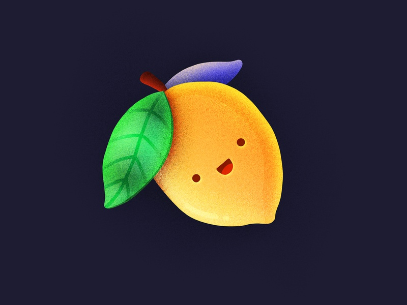 Happy Lemon! healthy fruit smiling character emoji happy face lemon citrus procreate illustration icon