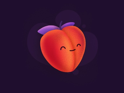Peach! procreate cute healty fruit face smiling character happy emoji peach illustration icon