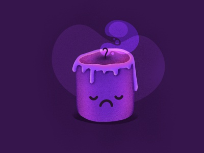 Candle dark night face character emoji sad candle illustration icon