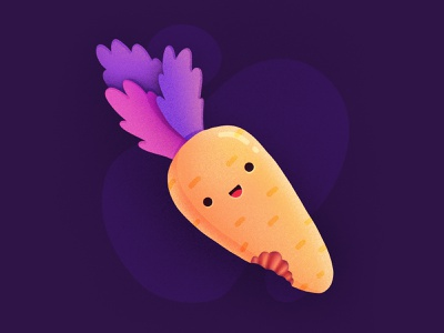 Carrot! bunny rabbits carrots vegetables eat bite smiling happy character face emoji carrot procreate illustration icon