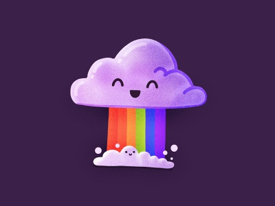 Best Icons of the Month! rain happy smiling face character emoji rainbow cloud illustration icon